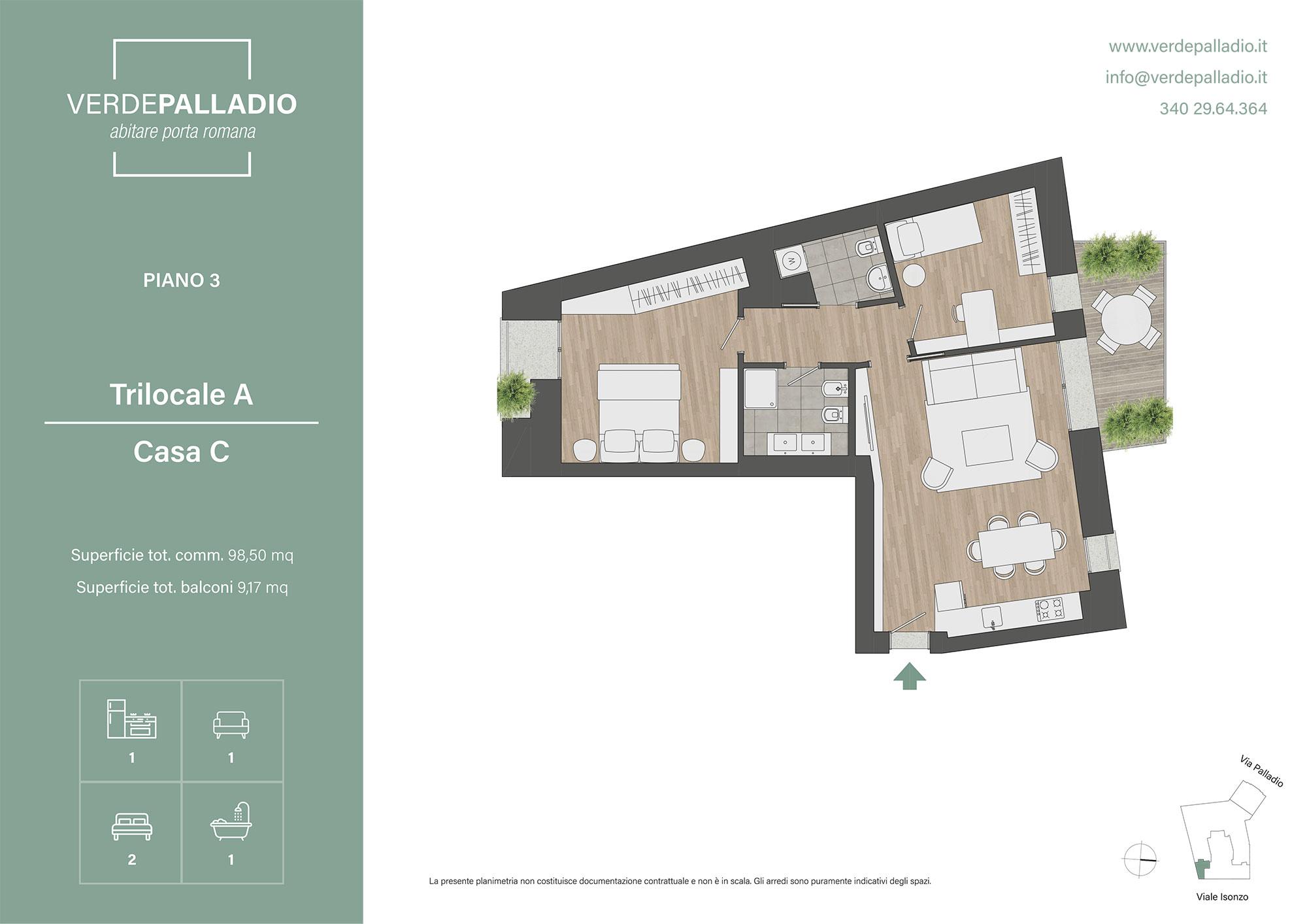 Progetto Appartamento 50 Mq trilocali via palladio 18 – nuova costruzione – studio dazzi